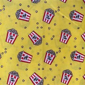Pop! Popcorn Bucket Toss On Yellow Fabric 0.5m