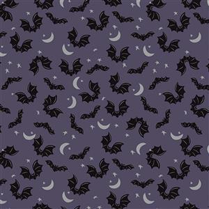 Riley Blake Spooky Hollow Eggplant Bats Fabric 0.5m