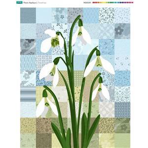 Flower Applique Snowdrops Fabric Panel (70 x 93cm)