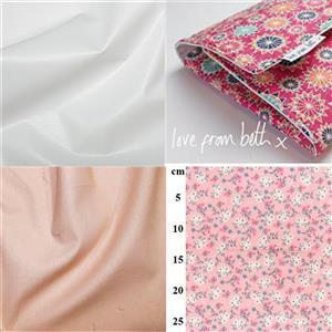 Small Pink & White Flowers Baby Changer Kit: Pattern, Fabric (2m) & Nursery Sheeting Fabric (0.5m)