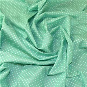 Rose and Hubble Cotton Poplin Spots on Pastel Green Fabric 0.5m