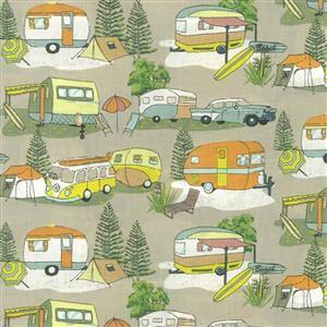 Retro Holidays in Forest Fabric 0.5m