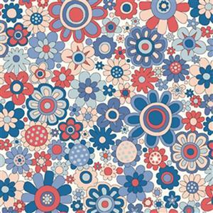 Liberty Carnaby Collection Paradise Petals Red and Blue Fabric 0.5m