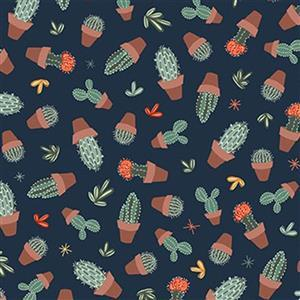 Michael Miller Greenhouse Gardens in Cactus Navy Fabric 0.5m