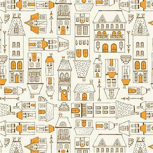 Michael Miller City Hoppers City Scene Peach Fabric 0.5m