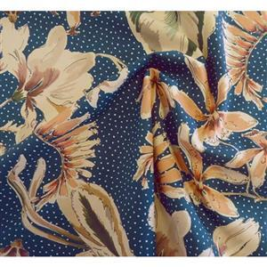 Showering Vine Ocean Blue Challis Lawn Fabric 0.5m