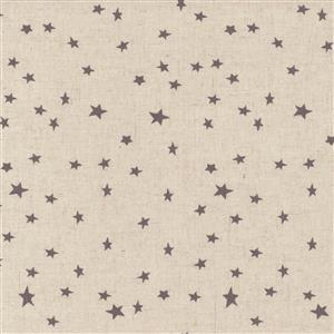 Shabby Chic Grey Stars On Natural Cotton Linen Fabric 0.5m