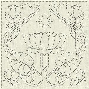 Sashiko Serenity Fabric Panel 30 cm x 30 cm (12