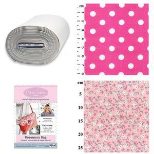 Small Pink & White Flowers Debbie Shore Rosemary Bag Kit: Pattern, Bosal & Fabric (1m)