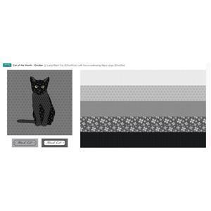 October Cat of the Month - Black Cat Fabric Panel 140cm x 43cm