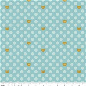 Riley Blake's Cat Dot Aqua Sparkle Fabric from Chloe & Friends Range 0.5m