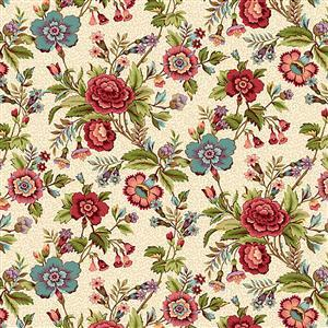 Henry Glass Tarrytown Main Floral on Cream Fabric 0.5m
