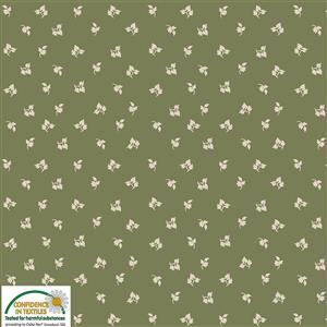 Nellies Shirtings Tossed Leaves On Olive Fabric 0.5m