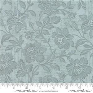 Moda 3 Sisters Memoirs Flourish Script Silver on Sky Blue Fabric 0.5m