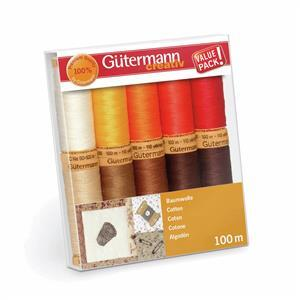 Gutermann Natural Cotton C No.50 Thread Set Assorted Colours  Pack 4 10 x 100m