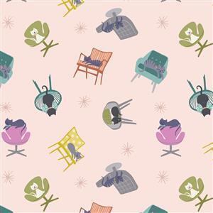 Lewis & Irene Poodle & Doodle Cat Naps on Pale Peach Fabric 0.5m