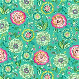 Happy Days in Floral Field on Jade Fabric 0.5m