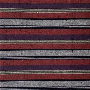 Shimamomen Striped Yarn Dyed Red Aubrgine Grey  Fabric 0.5m