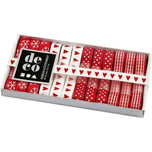 Decorative Ribbon Red & White Assortment Pack (12 x 1m x 10mm)