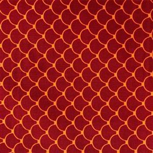 Little Noah Shell Shapes On Terracotta Fabric 0.5m