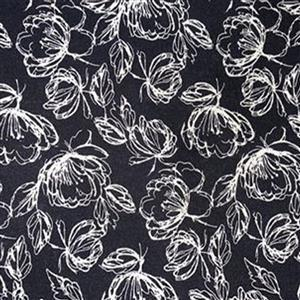 Laura Ashley Oxford Collection Etched Floral in Black Fabric 0.5m