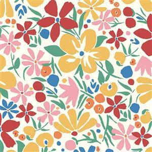 Liberty Carnaby Collection Bohemian Bloom Yellow and Red Fabric 0.5m