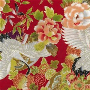 Tokiwa in Red Metallic Fabric 0.5m