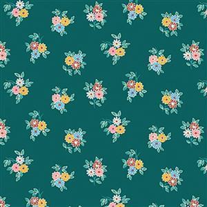 Liberty Emporium Collection Merchant Bright's Kyoto Posy Green Fabric 0.5m