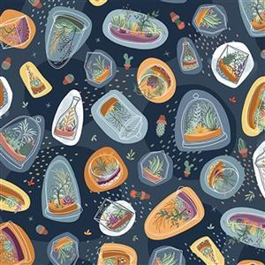 Michael Miller Greenhouse Gardens in Sprouting Navy Fabric 0.5m