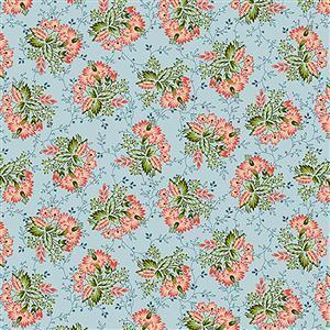 Henry Glass Tarrytown Stripey Bouquet on Blue Fabric 0.5m