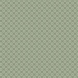 Hannah Basic Geo Florals On Green Fabric 0.5m