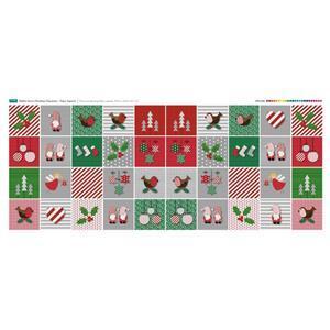 Debbie Harris Christmas Characters 40 Squares Fabric Panel (140 x 58cm)