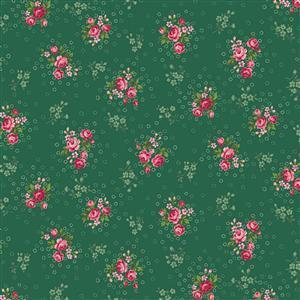 Trachten Rosen Green Fabric 0.5m