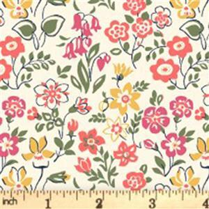 Liberty Cottage Garden Collection Yellow Lawn Games Fabric 0.5m