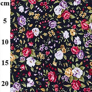 Pink and Purple Roses on Navy Fabric 0.5m