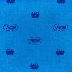 Riley Blake All Aboard With Thomas & Friends Blue Logos On Blue Fabric 0.5m