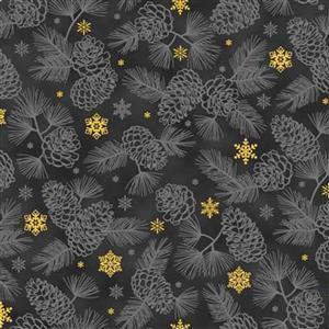 Gold Shimmer Black Shadow Pine Fabric 0.5m
