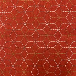 Miho Japanese Cube Pattern on Red Fabric 0.5m