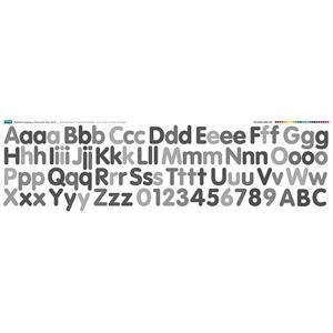 Grey Alphabet Applique Fabric Panel: 140cm x 43cm. Exclusive