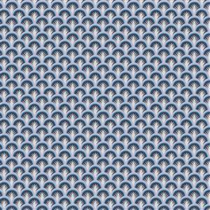 Liberty Deco Dance Collection in Deco Sprig Blue Fabric 0.5m