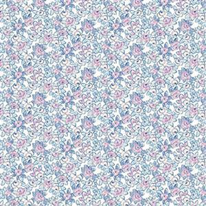 Liberty Deco Dance Collection in Deco Rose Blue Fabric 0.5m