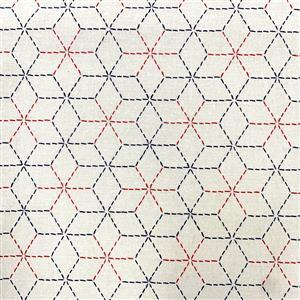 Miho Japanese Cube Pattern on Natural Fabric 0.5m