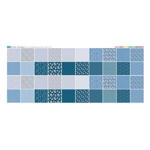 Misty Blue Fabric Squares Panel: 140 x 59cm