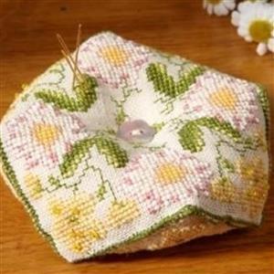 Cross Stitch Guild Beaded Biscornu, Buttercup and Daisy on Linen Kit
