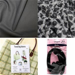 Animal Print Tweed Bag Kit: Pattern, Fabric (1m) & Handles