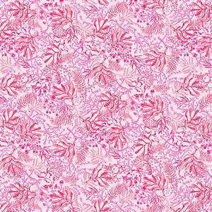 Blooming Ocean Seaweed on Pink Fabric 0.5m