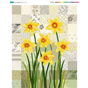 Flower Applique Daffodil Fabric Panel (70 x 93cm)