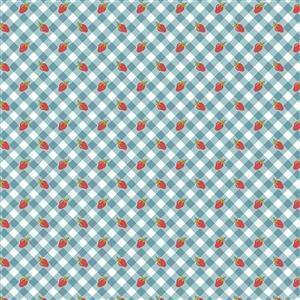 Poppie Cotton Farmgirls Unite Tomboy On Blue Fabric 0.5m