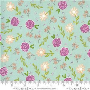 Moda Balboa by Sherri & Chelsi Purple Roses and Daisies on Light Blue Fabric 0.5m