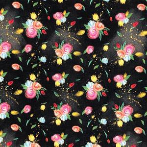 Sewing Notions Roses Black Fabric 0.5m